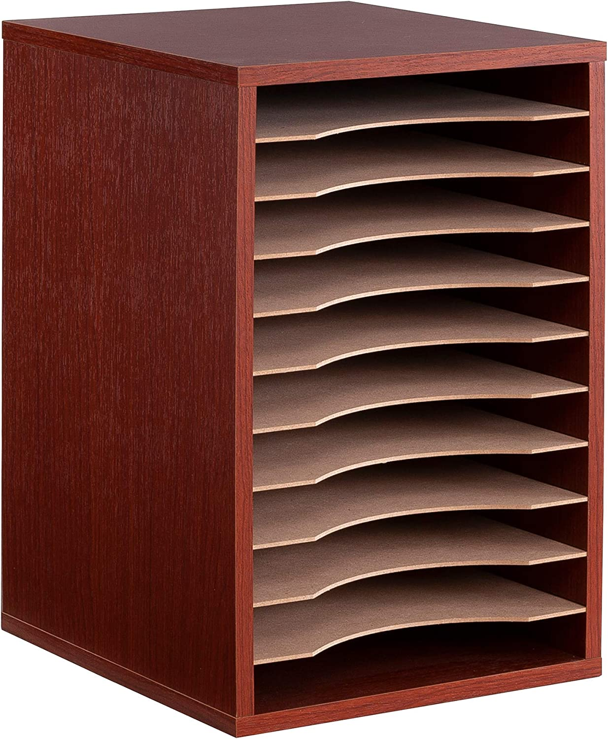 Safco Products 9419CY Vertical Desk Top Sorter, 11 Compartment, Cherry