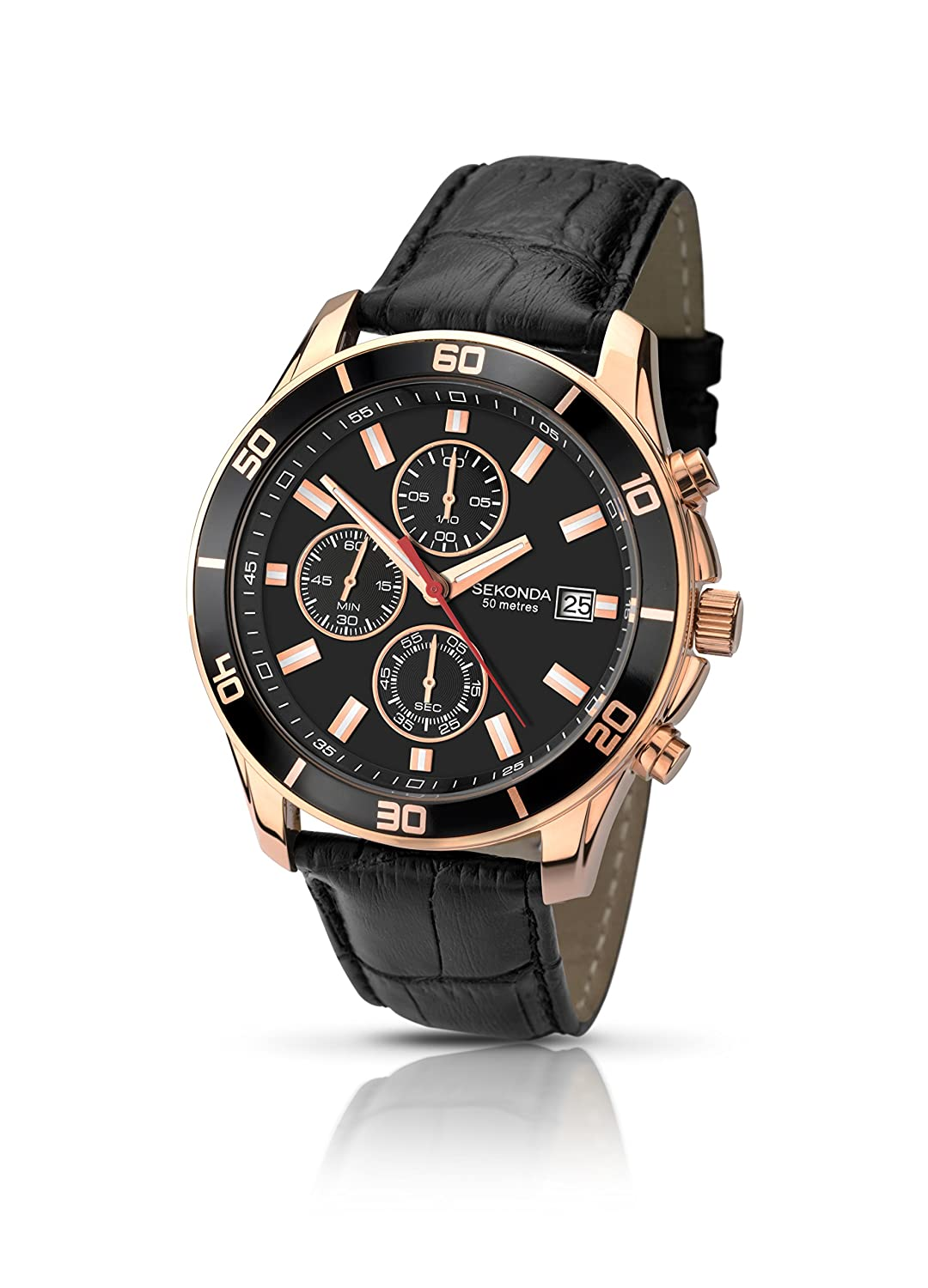 0472d6e1741b Sekonda Men s Quartz Watch with Black Dial Chronograph Display and Black  Leather Strap 1051.27  Amazon.co.uk  Watches