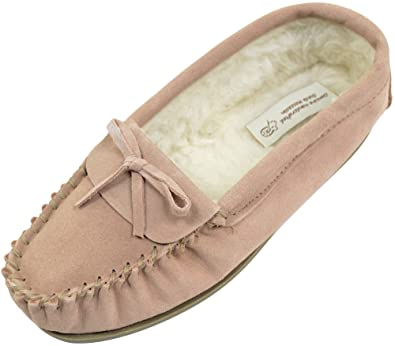 SNUGRUGS Ladies/Womens Suede Sheepskin Moccasins/Slippers with Wool Lining - Camel - 5