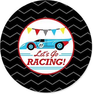 product image for Let's Go Racing - Racecar - Baby Shower or Race Car Birthday Party Circle Sticker Labels - 24 Count