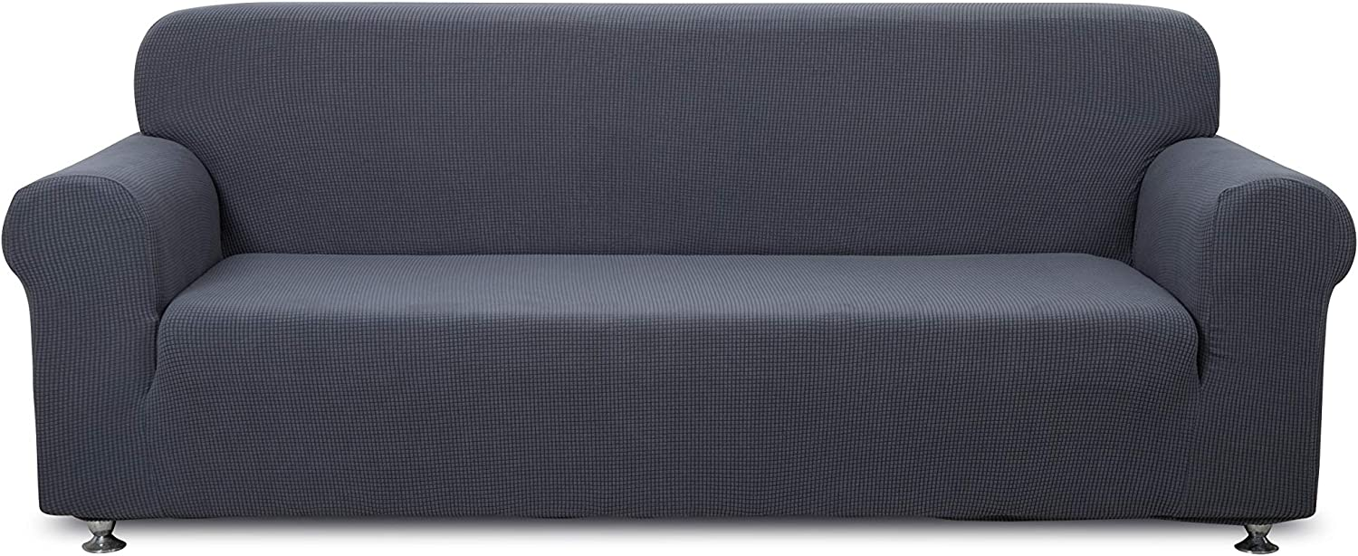 1 Piece- 3 Seater Sofa Slipcover Polyester Spandex Jacquard Fabric Stretchable, Home Hotel/Motel, Resort, Rentals and Commercial use, Fits the Back of Furniture from 72 to 92 inch Wide, Gray Color