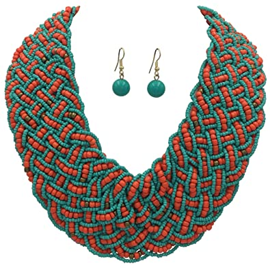 c7b53a66a Gypsy Jewels Wide Braided Seed Bead Multi Strand Statement Necklace &  Earrings Set (Aqua Blue