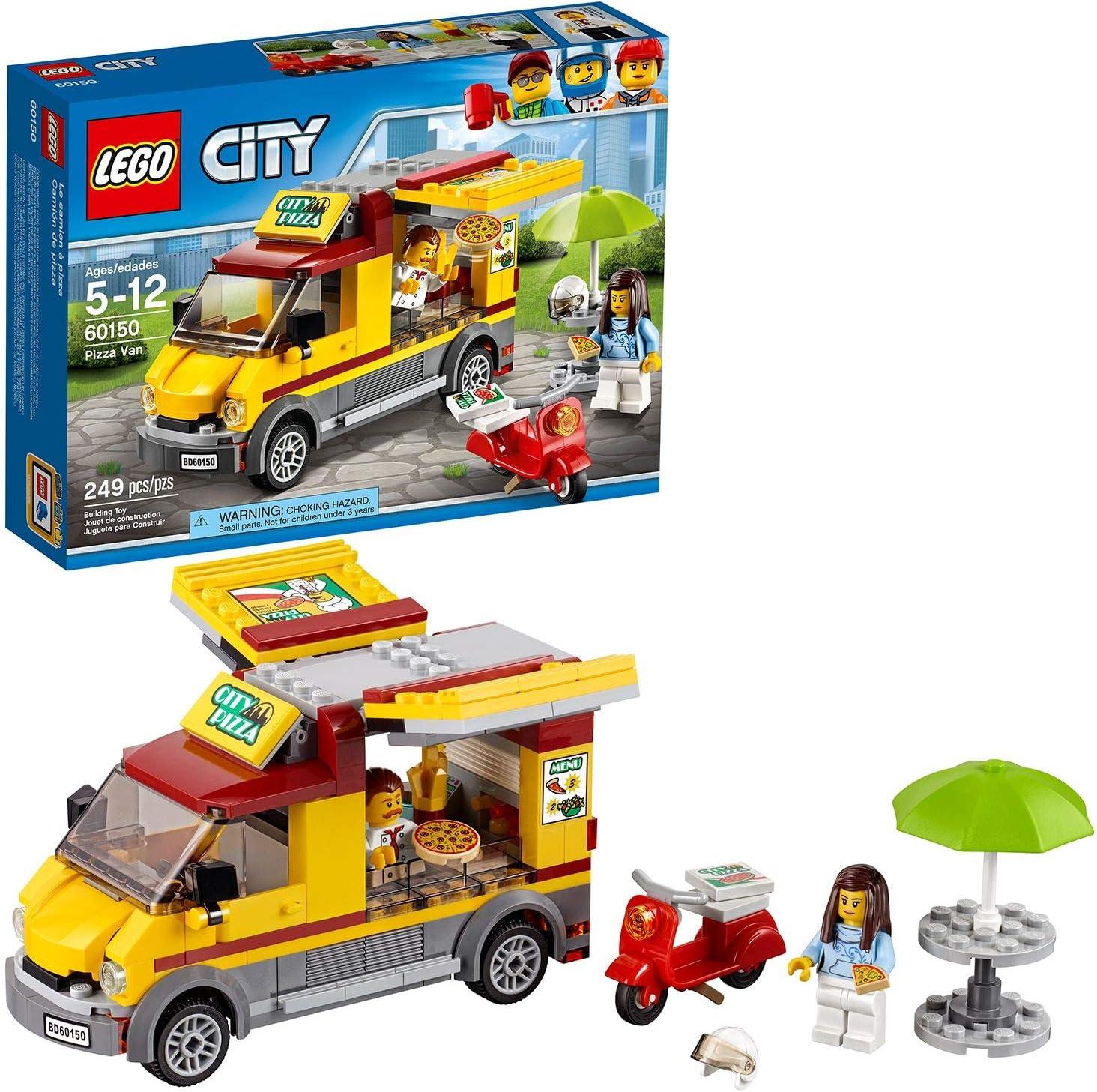 LEGO City Great Vehicles - Camión de Pizza, Set de Construcción de Foodtruck de Juguete, Incluye Moto Scooter de Reparto y 2 Minifiguras (60150)