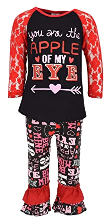 a417144c2e67 Unique Baby Girls 2 Piece Lace Sleeved Valentine's Day Outfit (2T/XS, ...