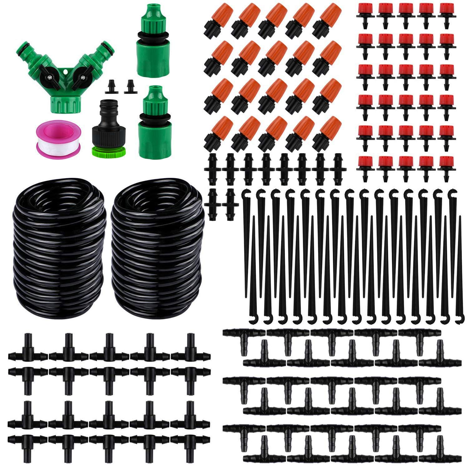 PiscatorZone Drip Irrigation Kits,98ft Garden Irrigation System with 1/4'' Blank Distribution Tubing Watering Drip Kit,DIY Saving Water Automatic Irrigation Equipment Set (30m/98ft Irrigation Systemc) by PiscatorZone
