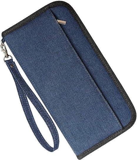 Portafoglio da viaggio holder Passaporto Documento Borsa Organizer Borsetta con zip RIFD Blocco