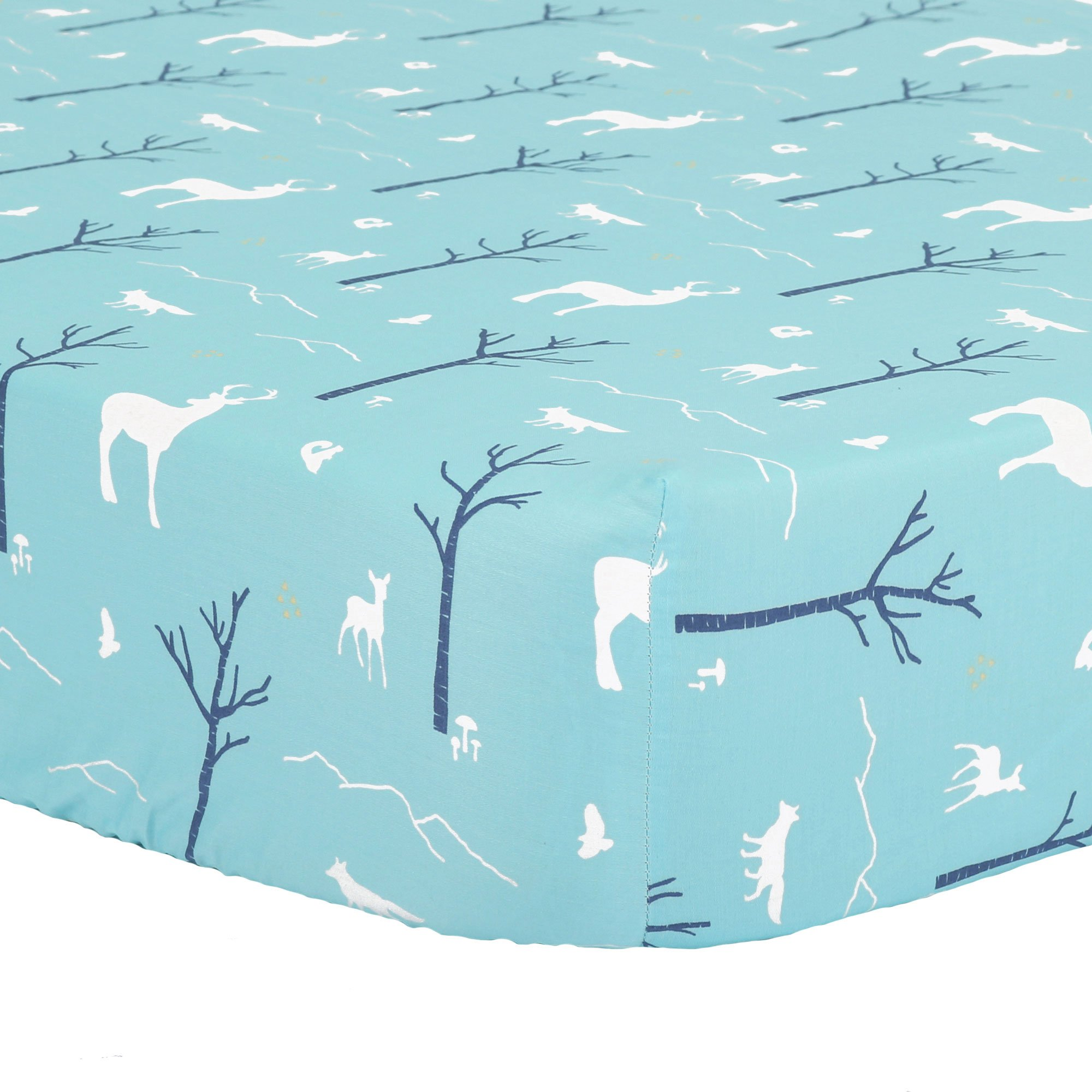Blue Woodland Fitted Crib Sheet - 100% Cotton Sateen Teal Forest Animal Theme