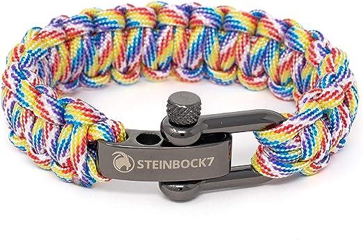 Steinbock7 Gay Pride LGBT Pulsera de supervivencia Rainbow Paracord con cierre de acero inoxidable ajustable, arco iris, incluye instrucciones para ...