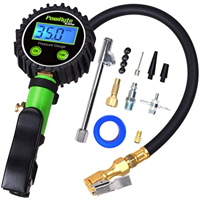 PowRyte Elite Tire Inflator with 250 PSI 0.1% High Accuracy Digital Tire Pressure Gauge and 12 Piece Accessoires Including 3 Piece Air Chucks,Green: Automotive