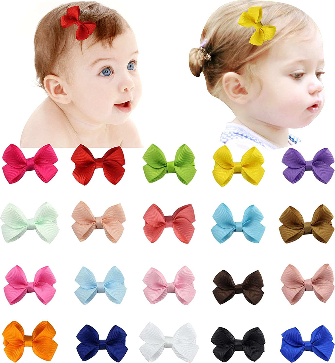 20pcs 2 Inch Tiny Hair Bows Clips Fully Lined for Baby Girls Fine Hair Infants Mini Hair Clips Bow Girlclips 81ntS4CdrlL
