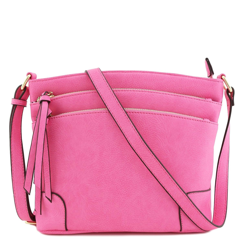 Pink Triple Zipper Pocket Medium Crossbody Bag