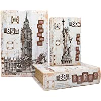 Jolitac Decorative Book Boxes World Map Pattern Antique Book Invisible box with Magnetic cover, Faux Wood Set of 3 Storage Set (Architecture)