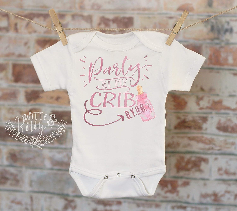 Party At My Crib BYOB Onesie® , Cheeky Onesie, Joke Onesie, Cute Baby Bodysuit, Cute Onesie, Boho Baby Onesie, Funny Onesie