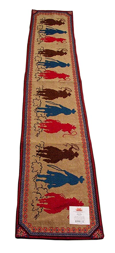 Bandana Table Runner.which features a red paisley and horseshoe design