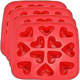 Fairly Odd Novelties Heart Shape Flexible Ice Cube Rubber Novelty Gag Gift, Red, 4-Pack