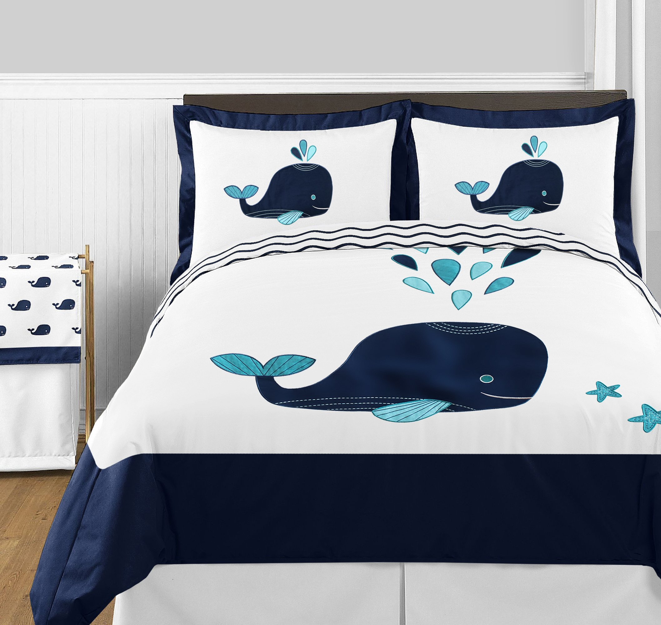Sweet Jojo Designs 2-Piece Mini Whale Print Decorative Accent Throw Pillows for Blue Whale Collection by Sweet Jojo Designs (Image #5)