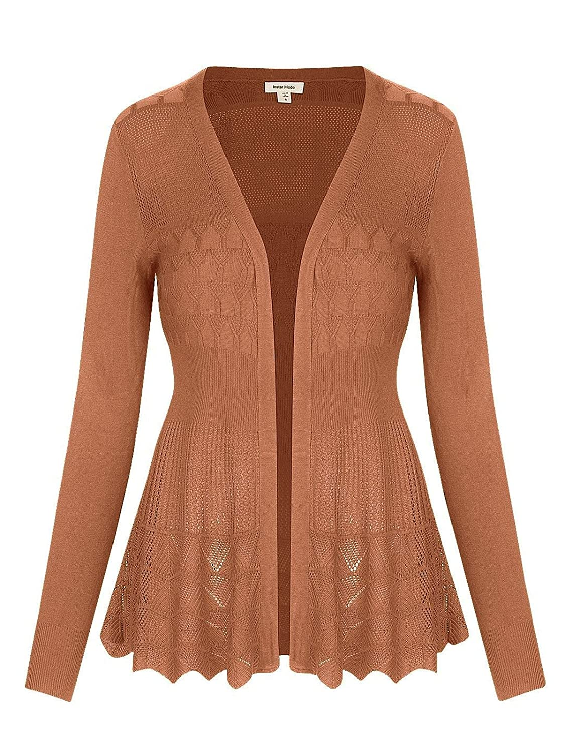 C09115 Dusty Coral Instar Mode InstarMode Women's Long Sleeve Crochet Knit Sweater Draped Open Cardigan