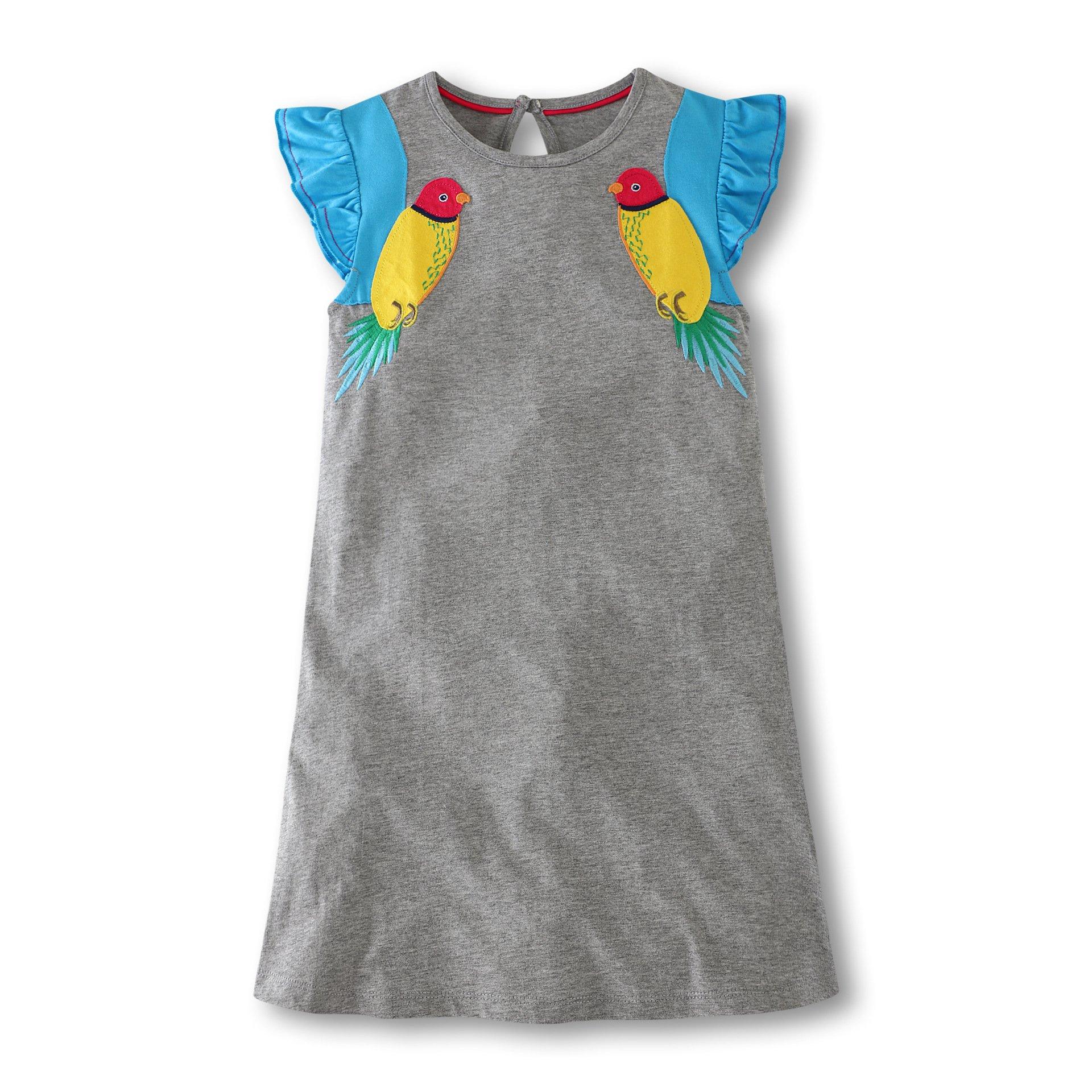Girls Crewneck Cotton T-Shirt Dresses Animal Applique Dress Short Sleeve (3T, Yellow Birds)