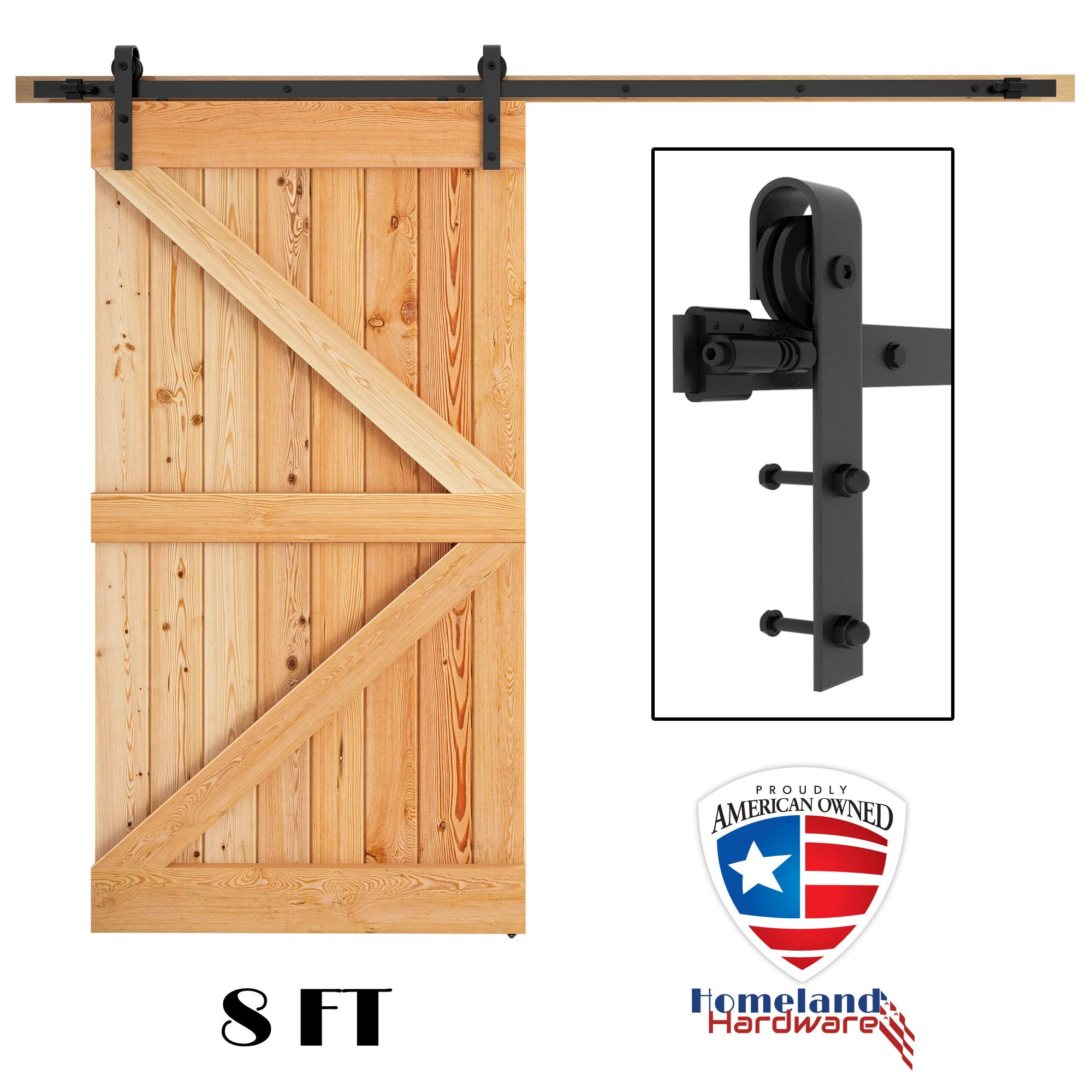 8 FT Sliding Barn Door Hardware Kit, ONE Single Rail HOMELAND HARDWARE (US Based Seller)
