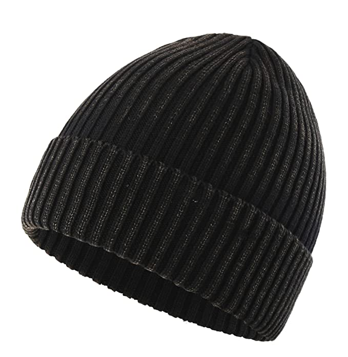 651fc494a6c Connectyle Girls Womens Daily Cotton Rib Knit Cuff Beanie Hat Classic Plain  Winter Watch Hat Black