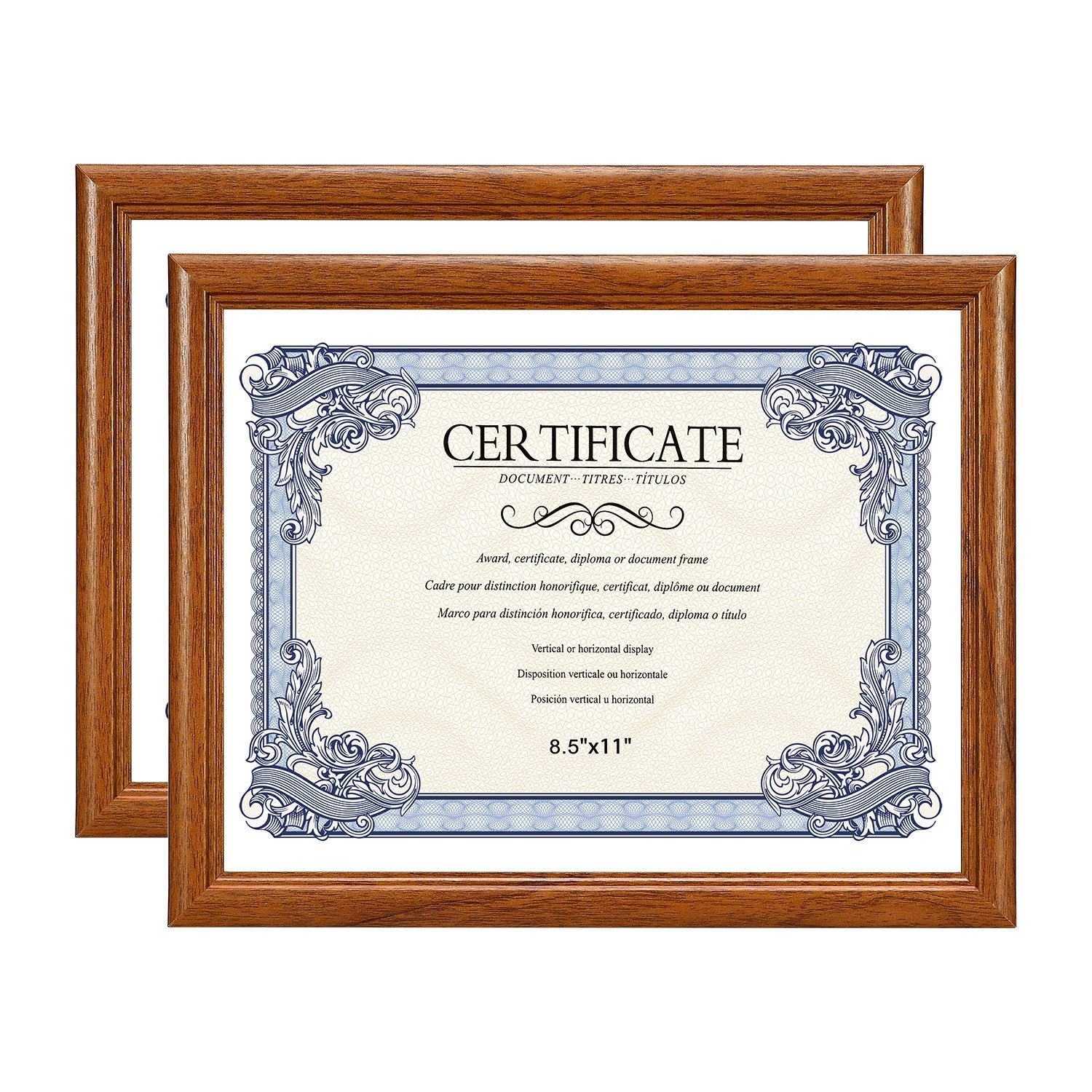 Amistad 8.5X11 Brown Certificate Picture Frame, Document/Diploma Frame with Classic Simple Style, Natural Wood Grain, 2 Pack