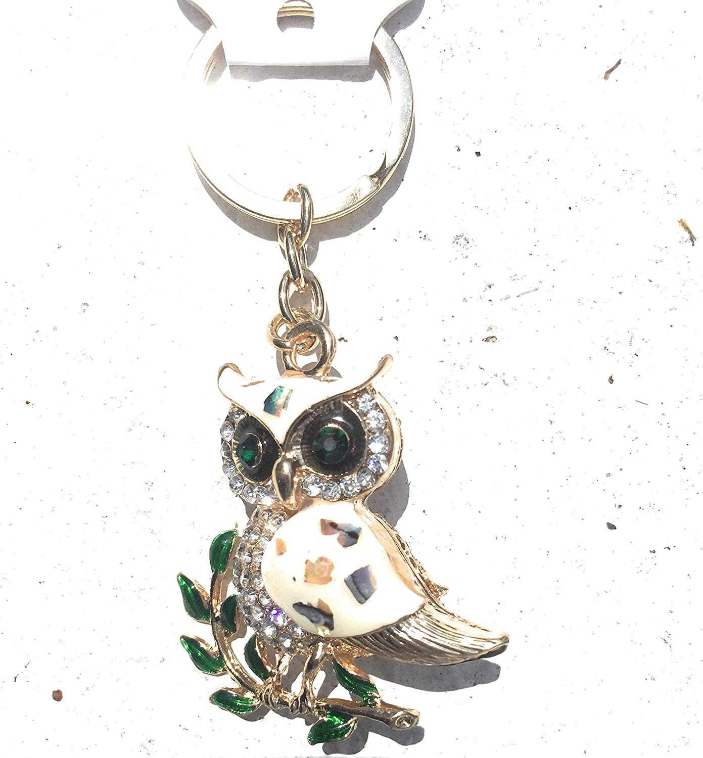 Exotic Pearl Owl Branch White Crystal Charm Purse Handbag Car Key Keyring Keychain Party Wedding Birthday Gift