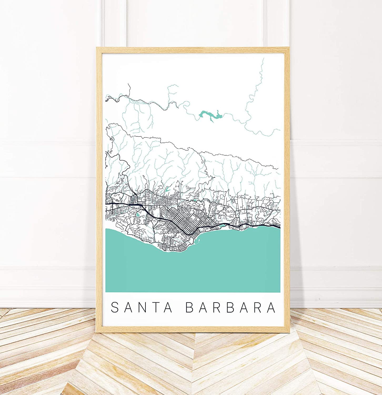 Santa Barbara California Map.Amazon Com Santa Barbara Map Art Print Map Of Santa Barbara