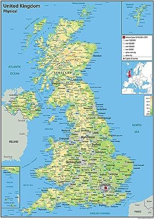 Mapa físico del Reino Unido, tamaño A2, 42 x 60 cm, papel laminado, con datos adicionales (idioma español no garantizado): Amazon.es: Oficina y papelería