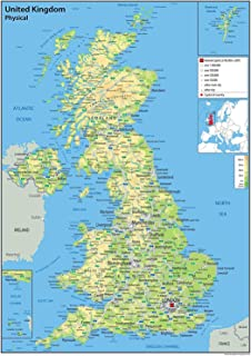 A3 laminated uk counties map educational poster amazon united kingdom uk physical map with additional data paper laminated 42 sciox Images