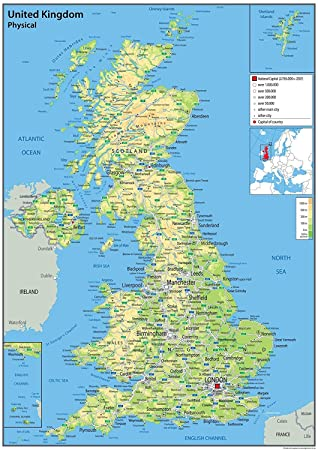 Map X.United Kingdom Uk Physical Map With Additional Data Paper Laminated 42 X 60 Centimetres A2 Ideal For Classroom Office And Home Ga