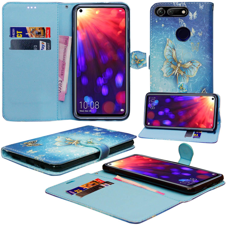 Huawei Honor View 20ケース、Huawei Honor View 20(バタフライゴールド)用の磁気閉鎖スタンド付きカードホルダー付きプレミアムPUレザーフリップウォレット電話ケースカバー   B07QBNBHTN