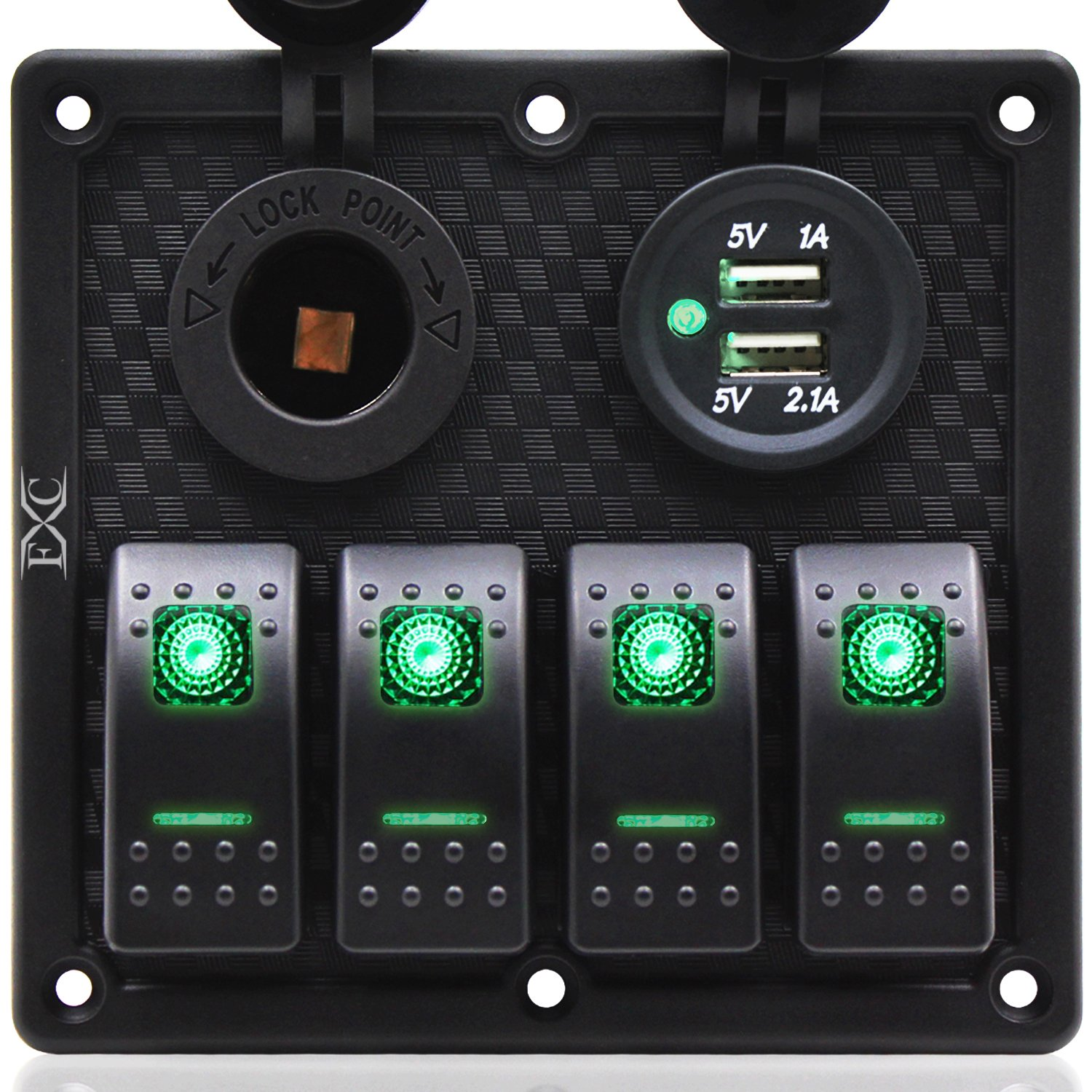 FXC 4 Gang Rocker Switch Panel with Dual USB & Power Socket 12V-24V for Car Marine Boat Trailer by FXC