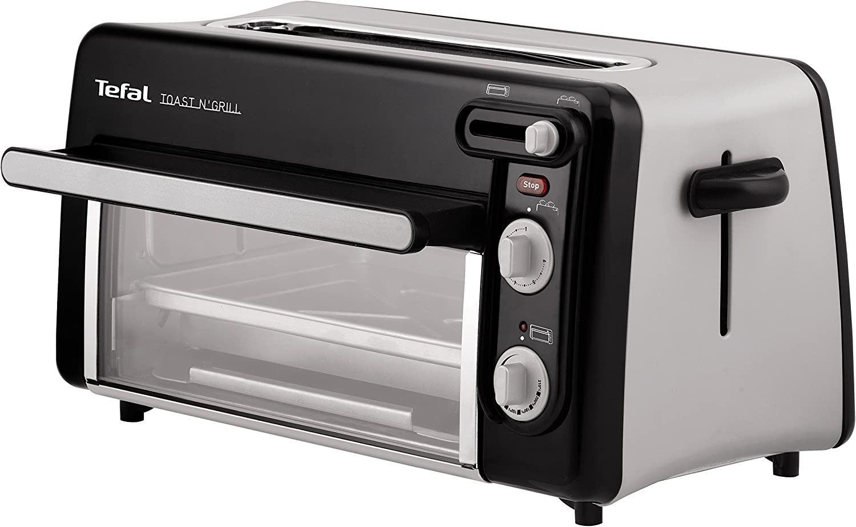 Moulinex Toast & Grill TL6008 - Tostador y horno, 2 en 1, potencia 1300 W, 1 ranura larga, temporizador 10 min, termostato regulable hasta 220 C, Incluye libro de recetas, bandeja recogemigas