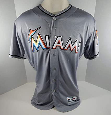 284f248bf44 2018 Miami Marlins Blank Authentic Game Issued Grey Jersey 25th Patch Size   50 - Game Used MLB Jerseys at Amazon s Sports Collectibles Store