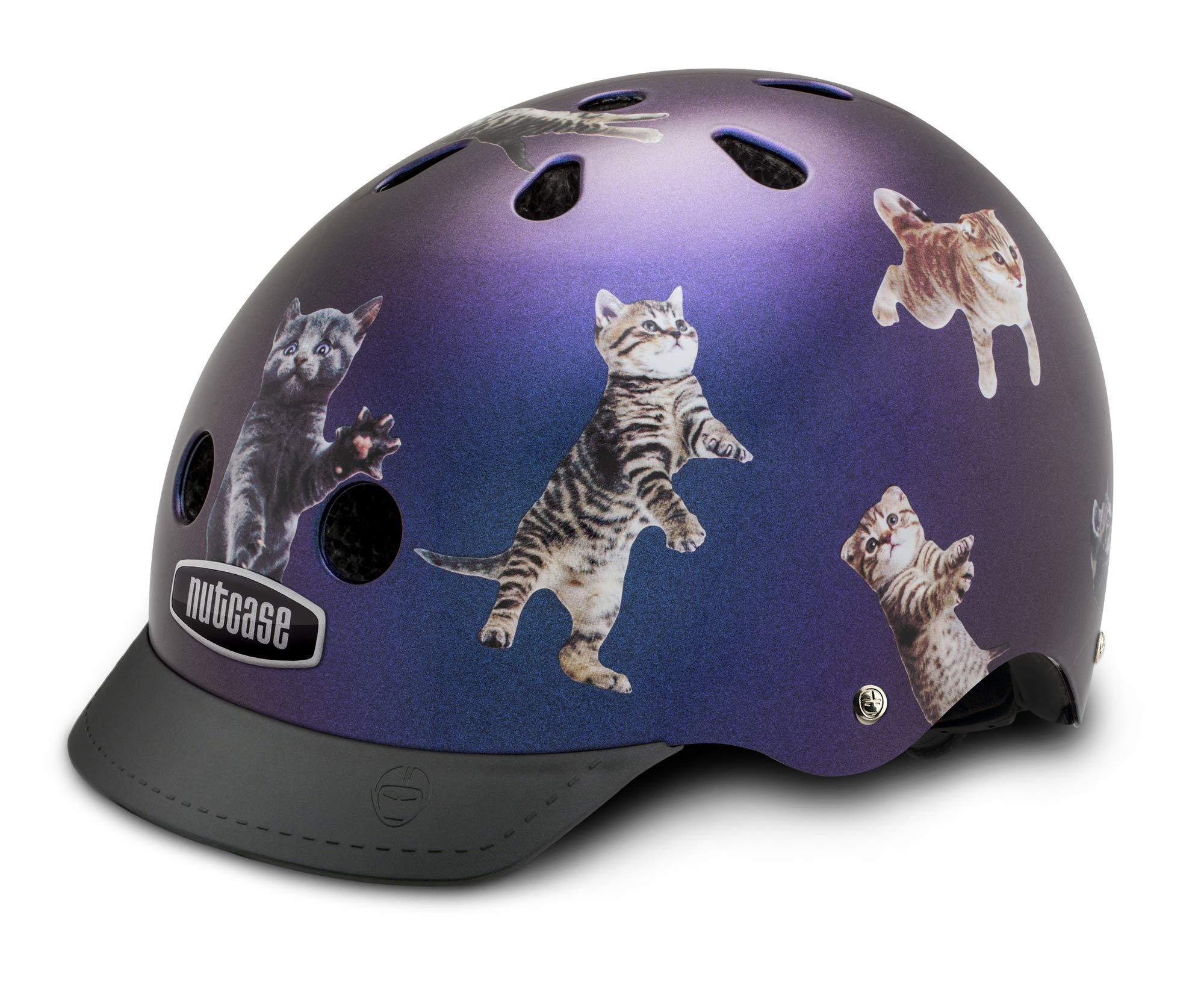 Nutcase - Patterned Street Bike Helmet for Adults, Space Cats, Medium