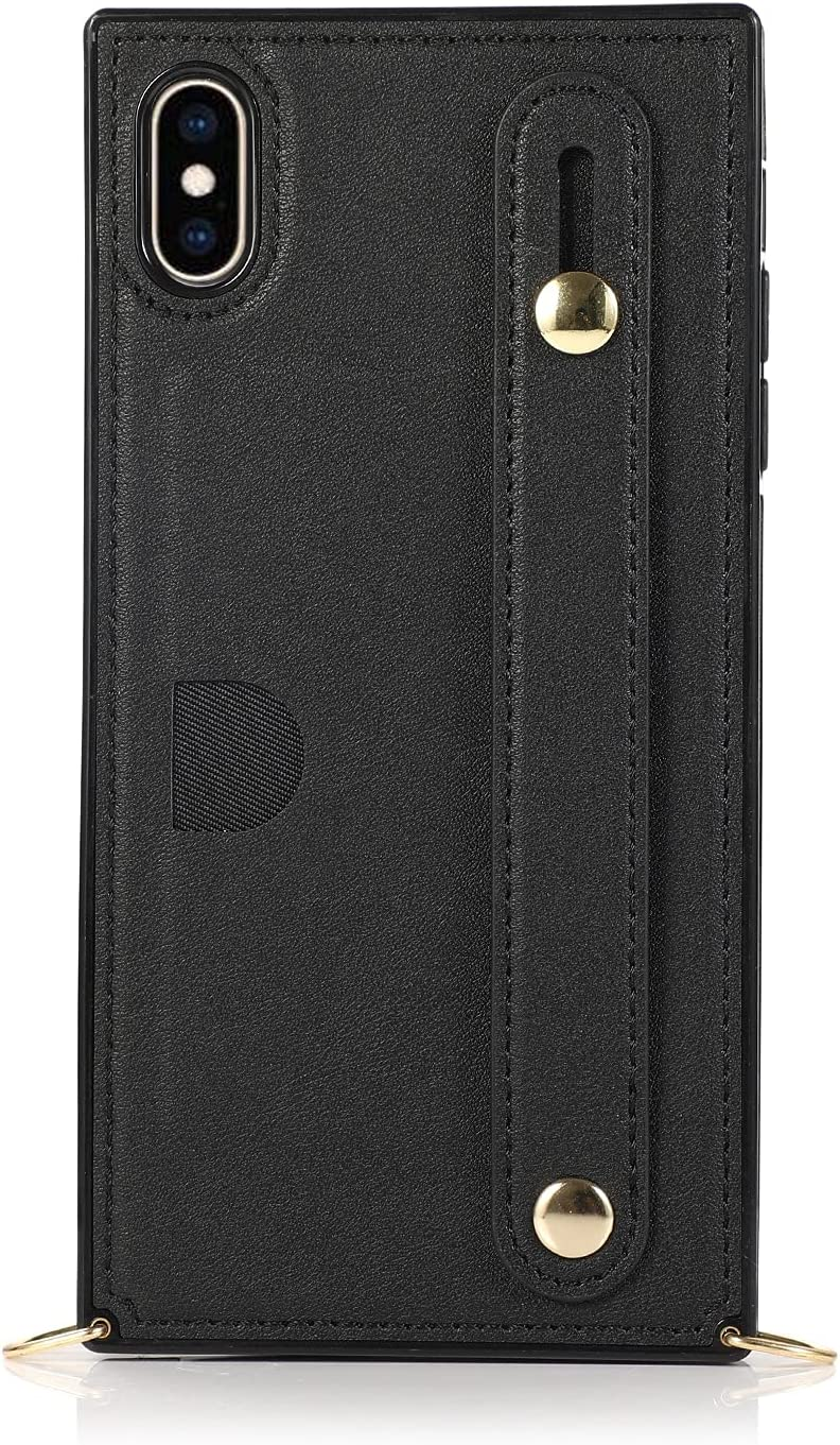 Phone covers For iPhone Xs Max Wallet Case Crossbody Leather Case Hand Strap , Kickstand,Card Holder,Adjustable Removable Shoulder Strap For iPhone Xs Max Protective Cover Case Skin ( Color : Black )