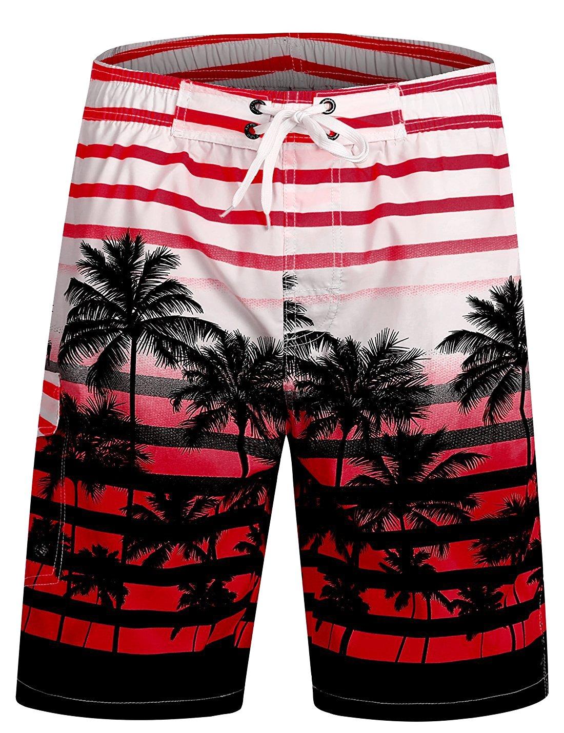 ICEbear Mens Swim Trunks Quick Dry Water Beach Board Shorts Cool Sportwear,red,XL