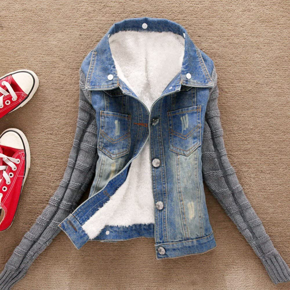 Women Winter Warm Jeans Button Knit Sleeve Cowboy Denim Pockets Jacket Coat