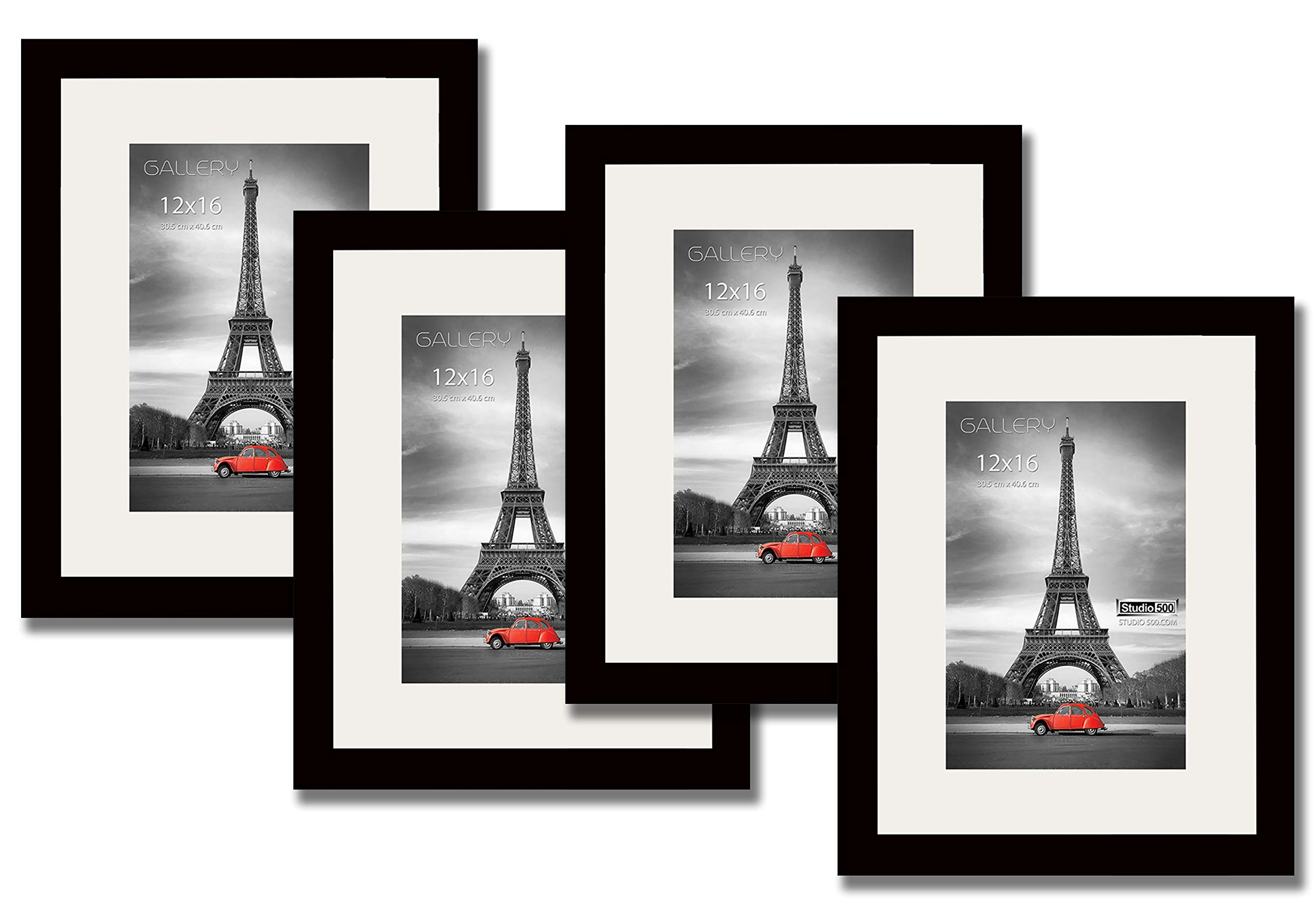 Studio 500, 4 Value Pack Luxury Set of 12 by 16-inch Real Solid Pine Wood Photo Frames, Tempered Glass, with Acid Free Ivory White Core Mat Board for 8x12 Pictures, Comes in Two Colors, (Black)