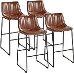 Yaheetech Bar Stools 30'' Height Fashionable Pub Stool Chairs PU Leather