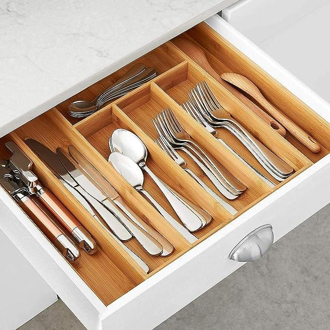 Amazon.com: Organizador de utensilios de bambú para cajón ...
