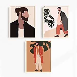 Modern People Art Prints Mid Century Decor 8x10 Prints - Set of 3 Painting of Fashion Men Boho Art Wall Decor - Unframed Wall Art Minimalist Painting Minimal Wall Art