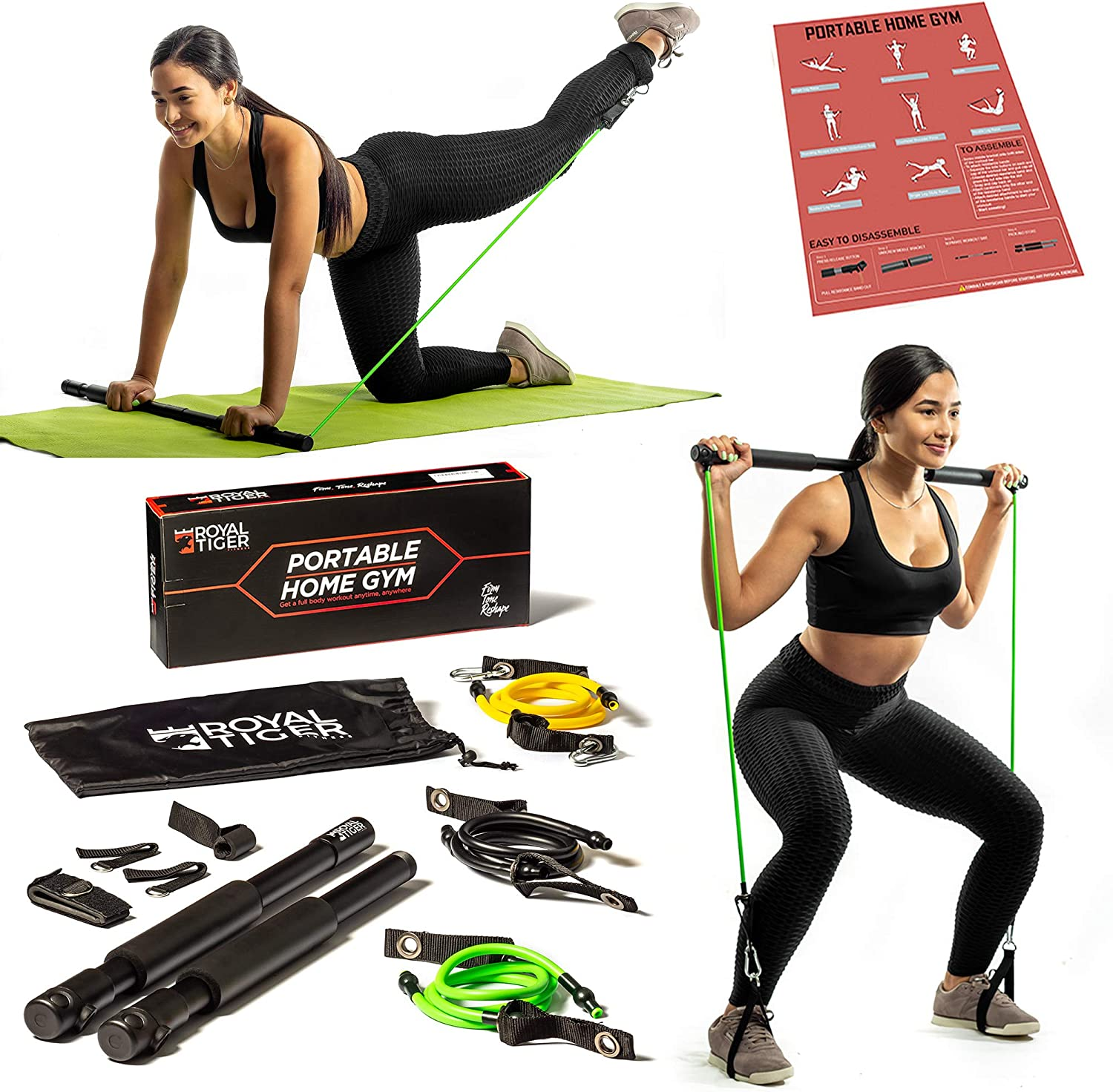 Royal Tiger Fitness Portable Home Gym - All-in-One Resistance Band + Bar Workout Equipment Kit - Total Body Exercise System - Increase Muscle, Tone Body - Easy Setup