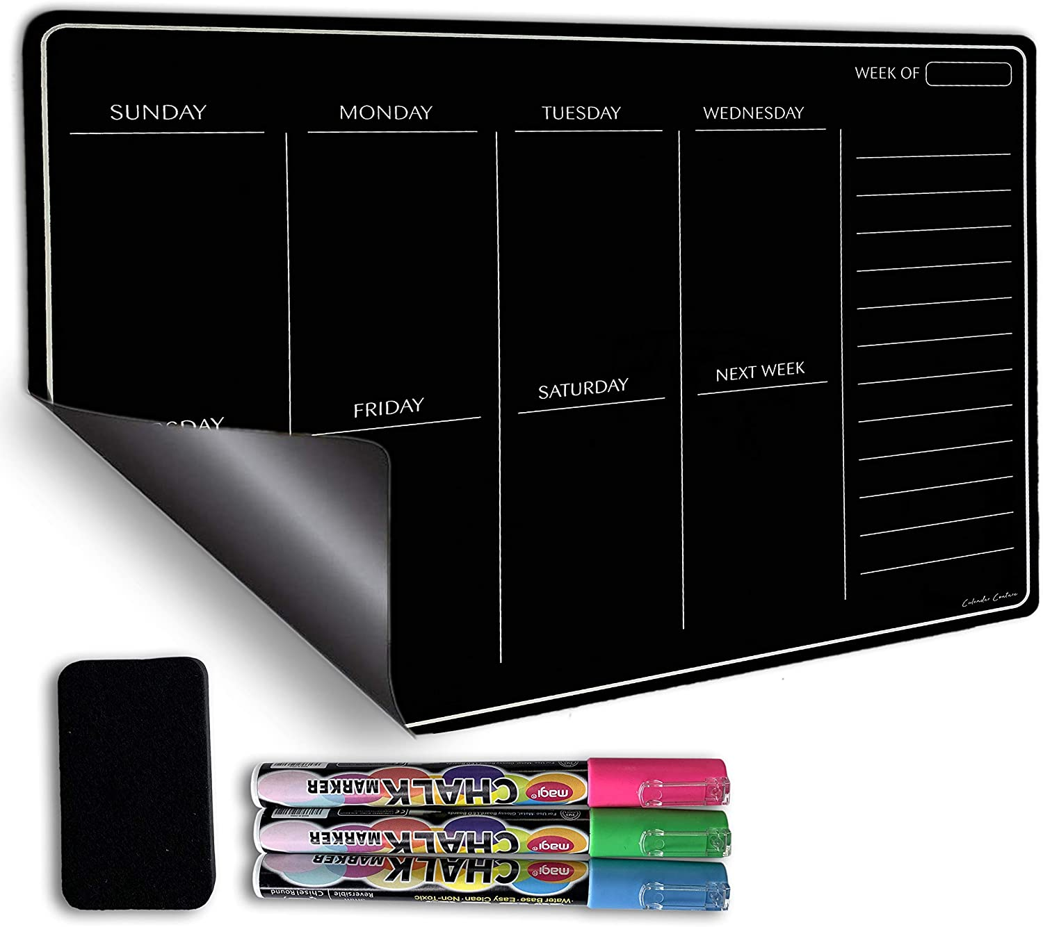 Magnetic Refrigerator Calendar Black Board Dry Erase Planner KIT. Days of The Week, Sturdy 8mm Thick, Comes with Dry Eraser and 3 Fluorescent Chalk Markers. No Stain, Easy Clean for Organization