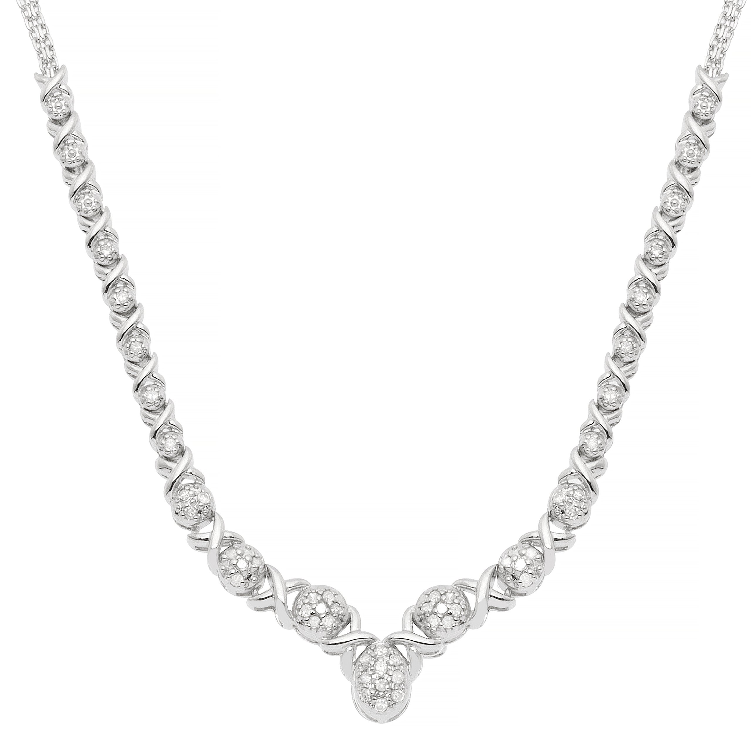 JewelExclusive Sterling Silver 1/2 CTTW Diamond Oval X/O 17'' Necklace