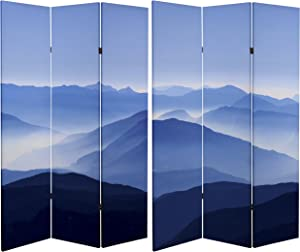 ORIENTAL Furniture Tall Double Sided Misty Mountain Canvas Room Divider, 6'