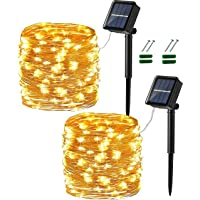 2 Pack Solar String Lights outdoor,Fairy led Lighting 20M/66ft 8 Modes, Led Wall Decoration IP65 Waterproof Starry…