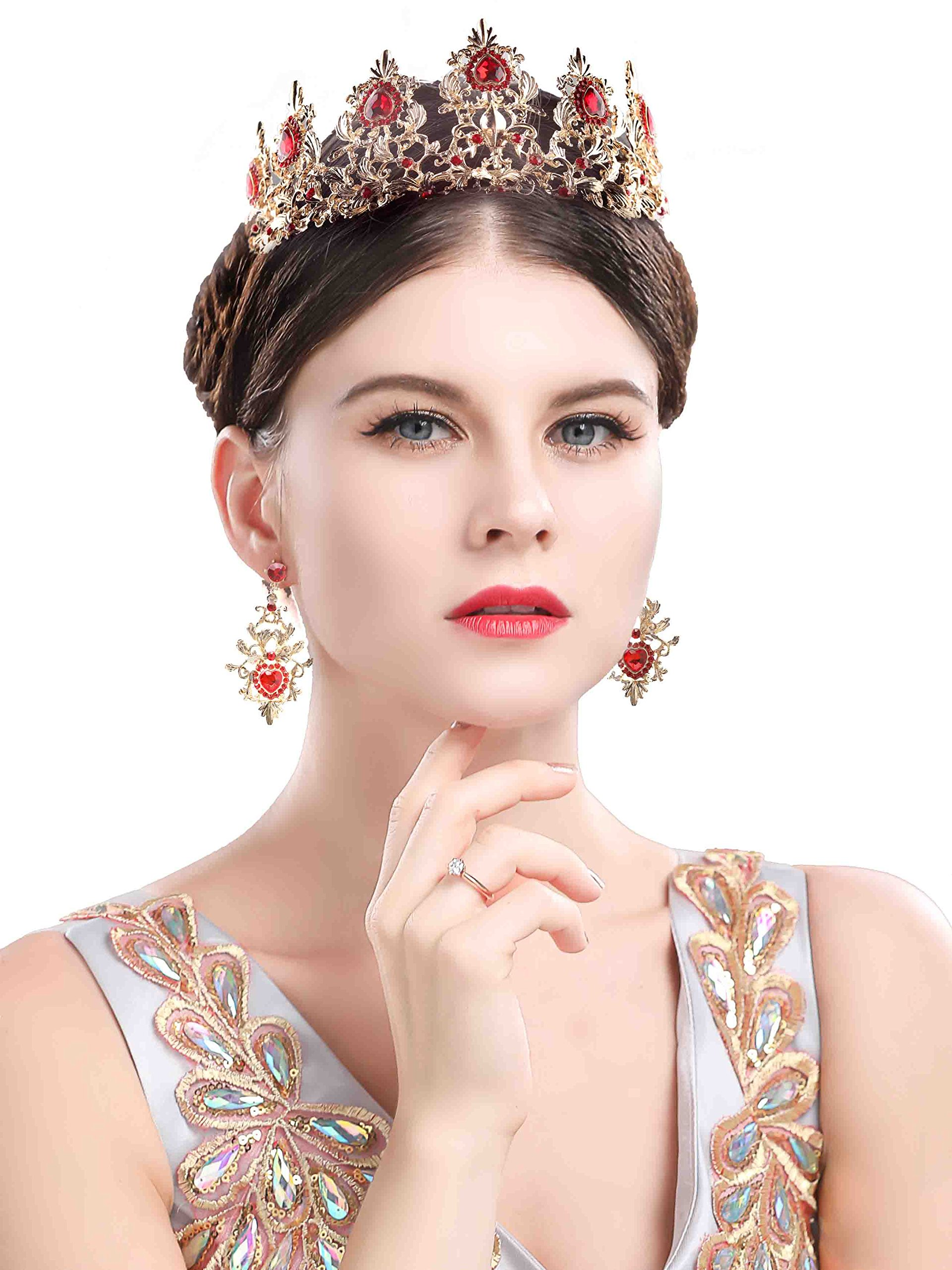 Chicer Women Baroque vintage Wedding Crown Tiara boutique headdress Earrings (Red).