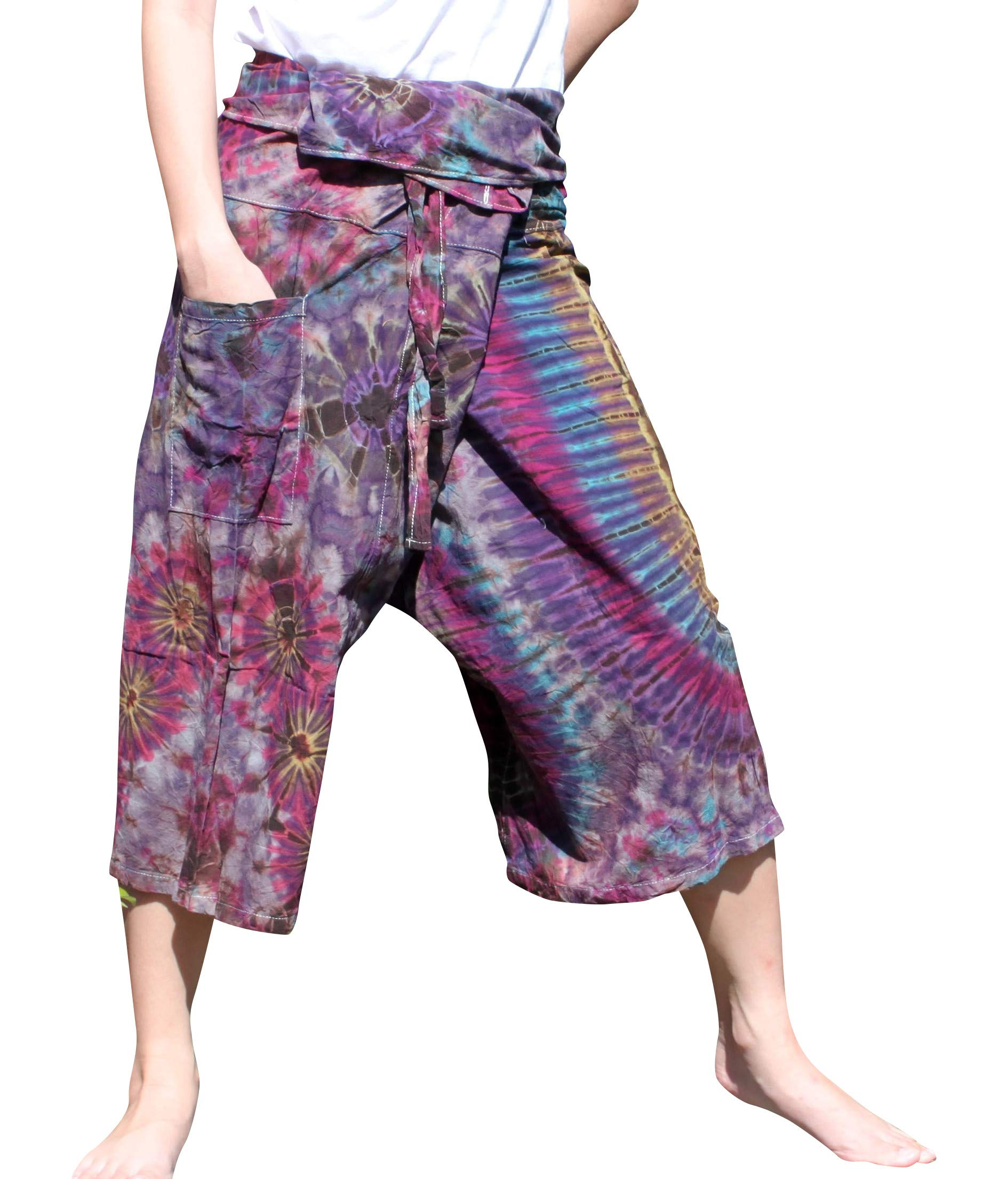 Full Funk Cotton Tie Dyed Natural Colorful Thai Fisherman Wrap 3/4 Leg Pants, Medium, Dark Purple by Full Funk