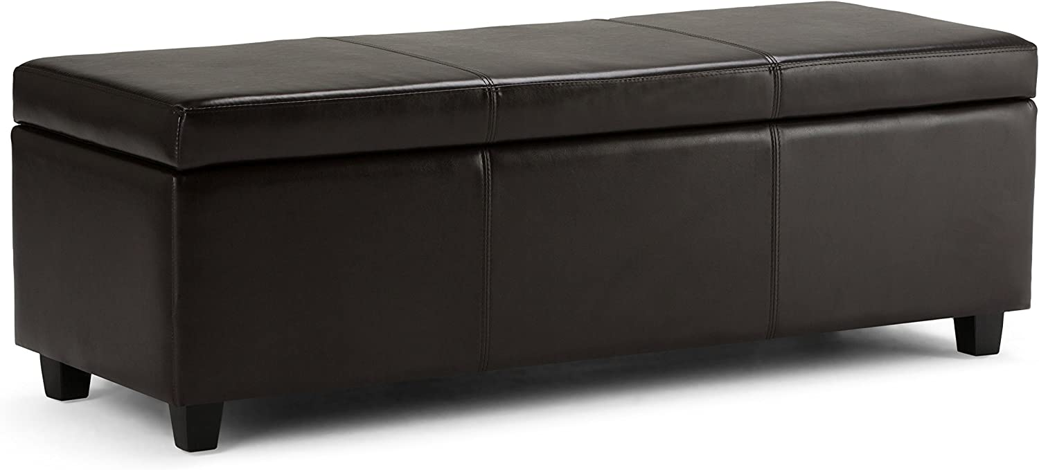 Simpli Home Avalon 48 inch Wide Rectangle Lift Top Storage Ottoman Bench in Upholstered Tanners Brown Faux Leather with Large Storage Space for the Living Room, Entryway, Bedroom, Contemporary: Kitchen & Dining